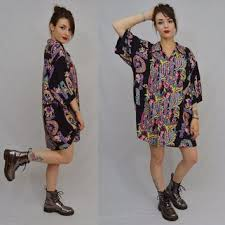 90s Hawaiian Shirt Dress XXL Soft Grunge Hippie Tropical Floral Black Aloha Oversize S