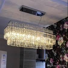großhandel zeitgenössische kristall cafe licht leuchte esszimmer runde quadratische pendelleuchten k9 led le rechteckige restaurant