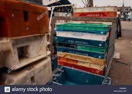 100 Steel Shipping Crates Stacked Stock Photos