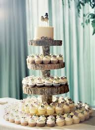 Rustic Wedding Tree Stump Cupcake Stand