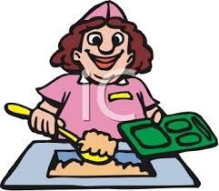 Royalty Free Clip Art Image Funny Cartoon Of A Lunch Lady Putting School Tray
