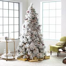 Pre Lit Pencil Christmas Trees Uk by Home Decor Bautiful Pre Lit Flocked Christmas Tree With Classic