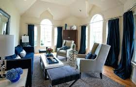 Navy And Cream Curtains Living Room New Blue Transitional