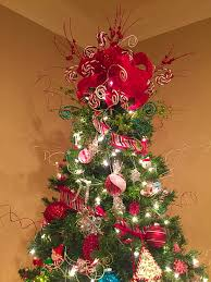 Christmas Tree Toppers Pinterest by My Tree Topper Made From Hobby Lobby Ribbon And Picks Christmas