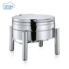 4L Chafing Dish Buffet Stove Restaurant Food Pans Luxury Style Round Hydraulic Induction
