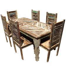 Tucson Rainbow Reclaimed Wood Dining Table Shutter Back Chair Set