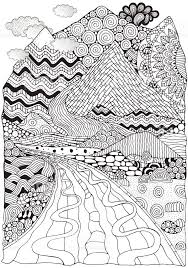Long Road And Mountains Doodle Landscape Anti Stress Coloring Book Page For Adult