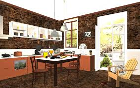 Rustic Brick Wall Kitchen And Dining Room