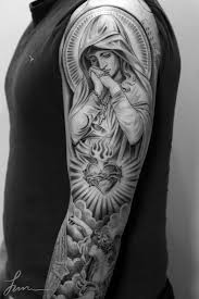 Black And Grey Sleeve Tattoos Religious