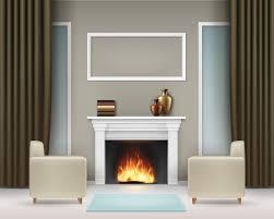 vector wohnzimmer interieur mit weißem kamin büchern vasen