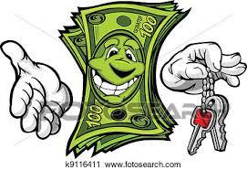 Clipart Of Cartoon Money And Hands With Car Or House Keys Vector
