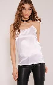 prettylittlething womens ladies chelsie white satin cami strappy