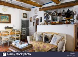Country Style Living Room Pictures by French Country Style Kitchen Living Room In Beamed Ceiling And