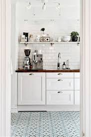 Blue Printed Tiles In White Modern Rustic Kitchen Cabinets Open Shelving Butcher