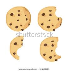 Vector illustration bitten chocolate chip cookie Freshly baked choco cookie icon set