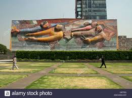 David Alfaro Siqueiros Murales by Mexico Mexico City University City Tower Of Rectory With Mural Of