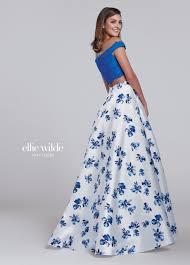 two piece mikado scalloped lace prom dress ew117148