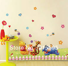 Free ShippingTiger And Bear Removable Cartoon 3D DIY Transparent Pvc Wall Stickers Kids Room