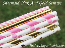 Pink And Gold Birthday Themes by Mermaid Under The Sea Pink And Gold Birthday Party Straws The
