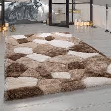 shaggy teppich wohnzimmer beige hochflor stein muster kuschelig weich