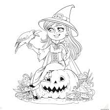 Coloriage Halloween Gentille Sorciere Et Son Corbeau Sur Une