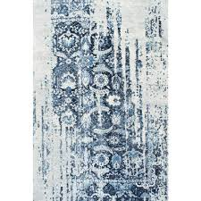 nuLOOM Distressed Ernestina Flourish Blue 7 ft 6 in x 9 ft 6 in