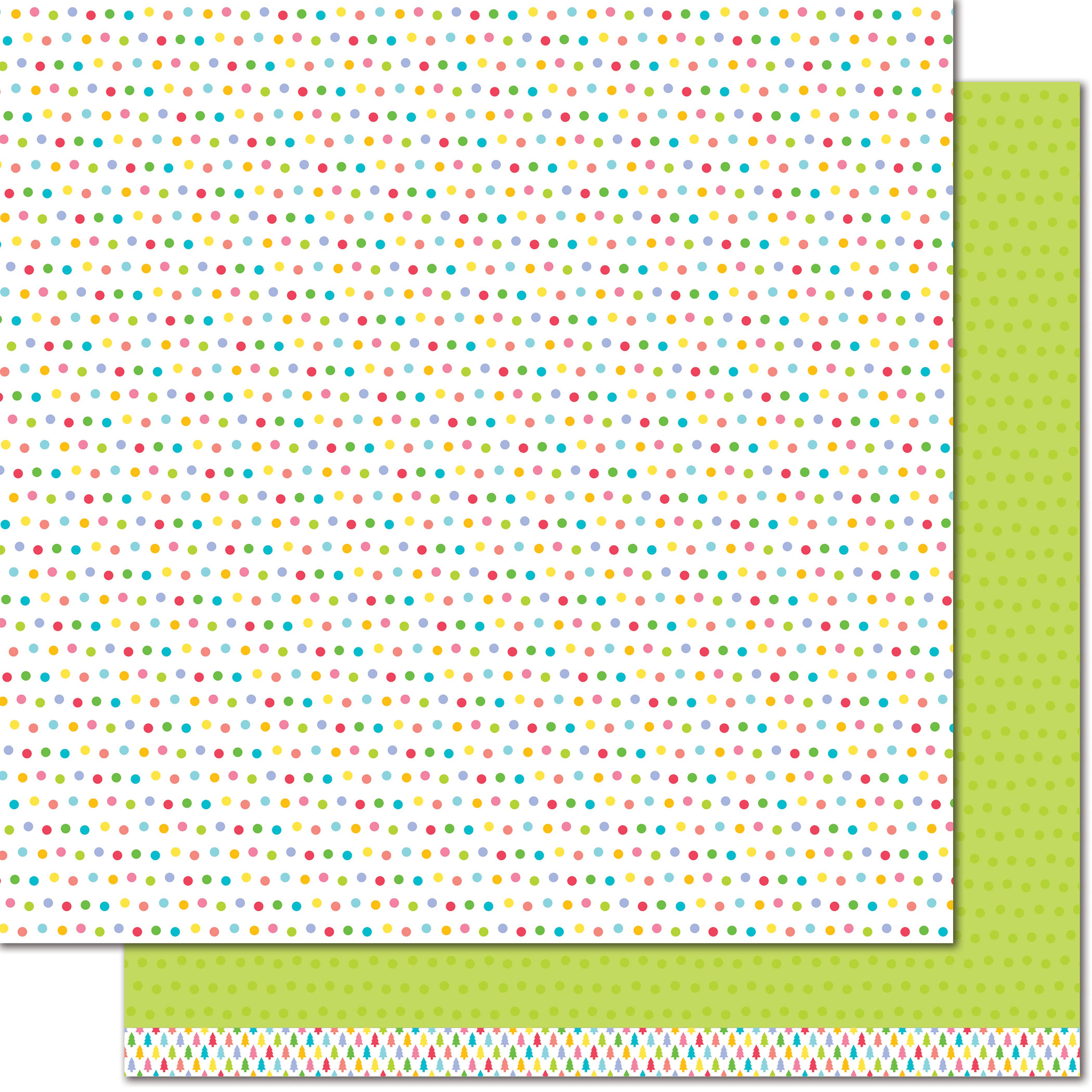 "Lawn Fawn Really Rainbow Collection Christmas Double Sided Paper - Green Holly, 12"" x 12"""