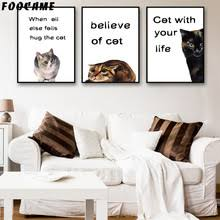 FOOCAME Believe Cat Dialogue Watercolor Posters And Prints Art Canvas Painting Modern Home Decor Wall Pictures