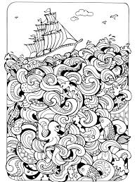 Boat On The Sea Absurdly Whimsical Adult Coloring Page
