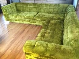mid century schnadig platform sectional sofa velvet tufted couch