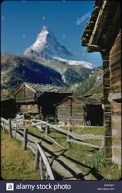 100 Log Cabins Switzerland Rustic With Matterhorn In Background Zermatt Stock Photo