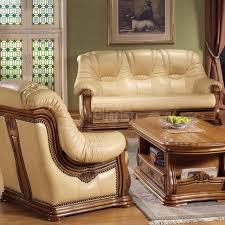 canapé cuir et bois rustique ensemble salon cuvette rustique stylisé avec tiroirs cuir vachette