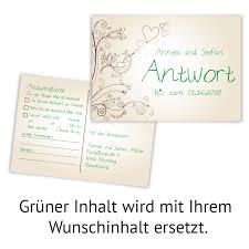 Antwortkarte Hochzeit Hochzeitskarten Antwort Postkarte Liebesbaum