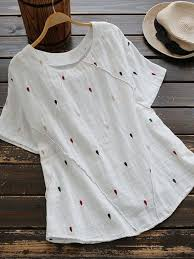 water drop shaped embroidery vintage t shirts hausdekor