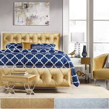 Velvet Headboard King Bed by Anya King Size Velvet Button Tufted Acrylic Headboard And Bed By