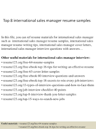 Top 8 International Sales Manager Resume Samples In This File You Can Ref Materials