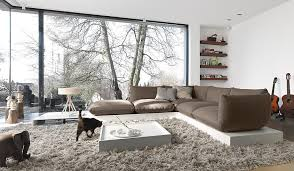 Living Room Ideas Couch Nature Themes Design With Brown Puffy Sofa L Shaped Grey Shag Wool Rugs Animal Miniature Decoration