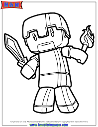 Minecraft Herobrine Coloring Page