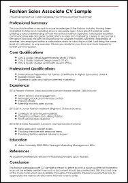 Cv For Fashion Sales Associate