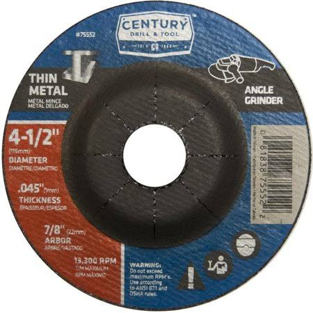 Century Drill and Tool 75552 Metal Cut Wheel 4-1/2-Inch x