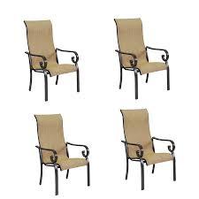 Stacking Steel Sling Patio Chair by Shop Garden Treasures Rollinsford 4 Count Bronze Aluminum