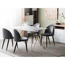 beliani esstisch grau weiß gold 80 x 140 cm v förmigen füße sicherheitsglas tischplatte marmoroptik rechteckig modern