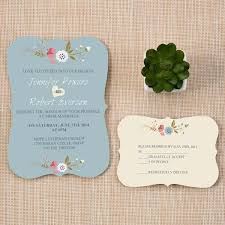 Chic Dusty Blue And Pink Country Wedding Invitation With Bracket Shape EWIb380