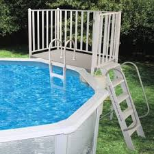 Above Ground Pool Deck Images by Shop Above Ground Pool Ladders U0026 Steps At Lowes Com