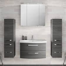 badezimmer komplett set mit 80cm keramik waschtisch spiegelschrank inkl led 2 midischränken fes 4010 66 in graphit struktur