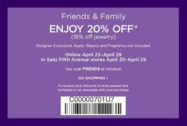 Saks Fifth Avenue 20% Off Printable Coupon - Al.com Saks Fifth Avenue 40 Off Coupon Codes September 2019 To Create Huge Mens Luxury Shoe Department Fifth Coupon 2018 Whosale Coupons For Off 5th Saks Deals On Sams Club Membership Friends And Family Free Shipping Stackable Code And Pinned December 14th Extra Everything At Off Ave Six Flags Codes