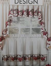 Amazon Prime Kitchen Curtains by Amazon Com 3pc Kitchen Cafe Apple Curtain Tier Swag Set Window