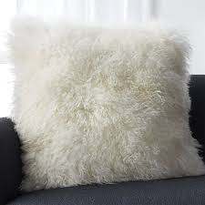 White Mongolian Fur Pillow