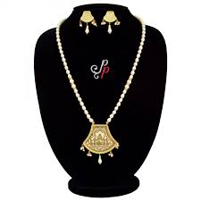 100 Pearl Design Beautiful Necklace Set In White Thewa Pendant With Palki