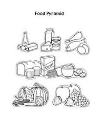Food Pyramid With Fruit And Other Coloring Page For Kids
